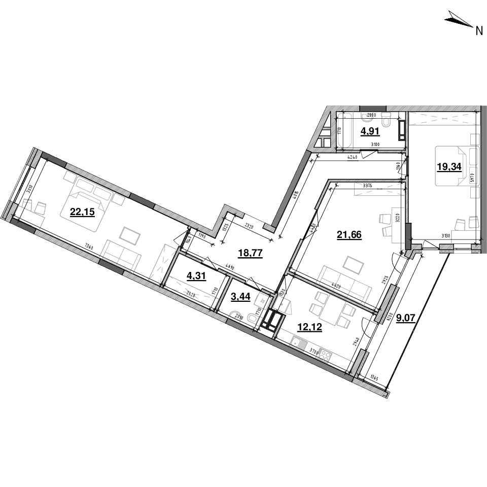 ЖК Львівська Площа: планування 3-кімнатної квартири, №150, 115.77 м<sup>2</sup>