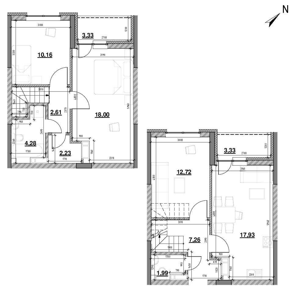 ЖК Оk'Land: планування 3-кімнатної квартири, №621, 83.75 м<sup>2</sup>