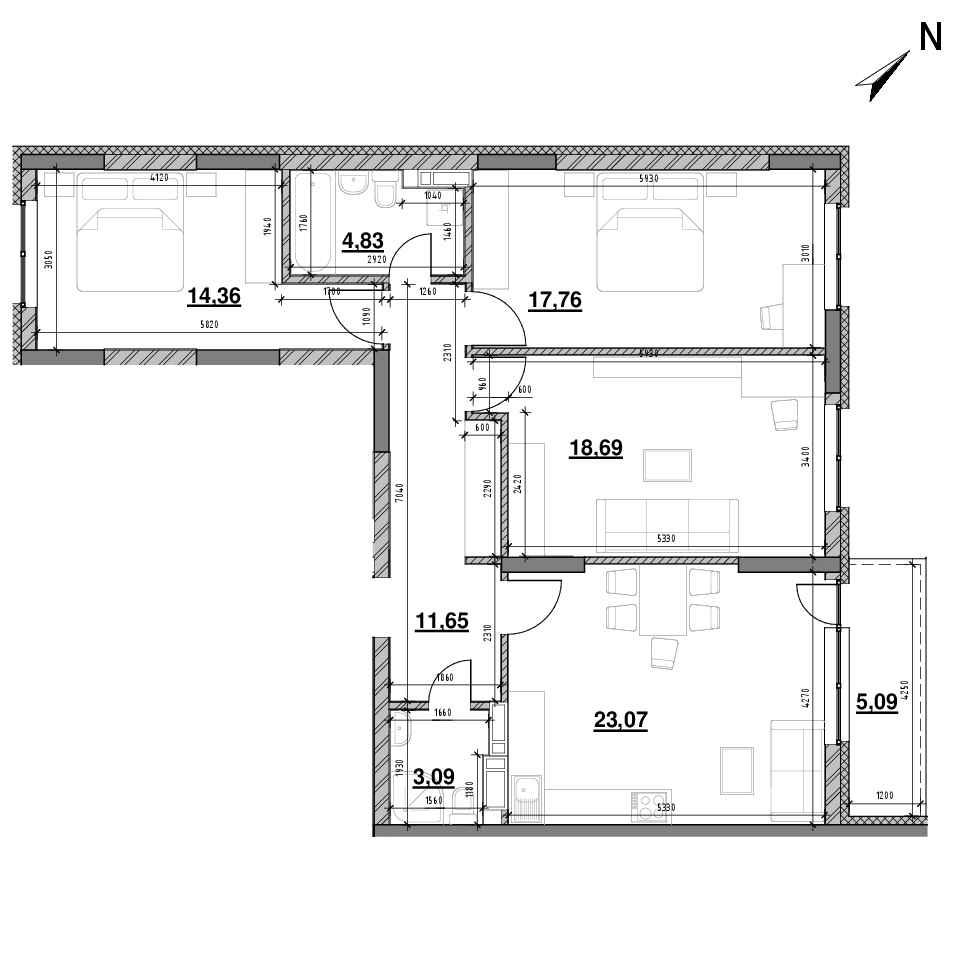 ЖК Оk'Land: планування 3-кімнатної квартири, №80, 99.83 м<sup>2</sup>