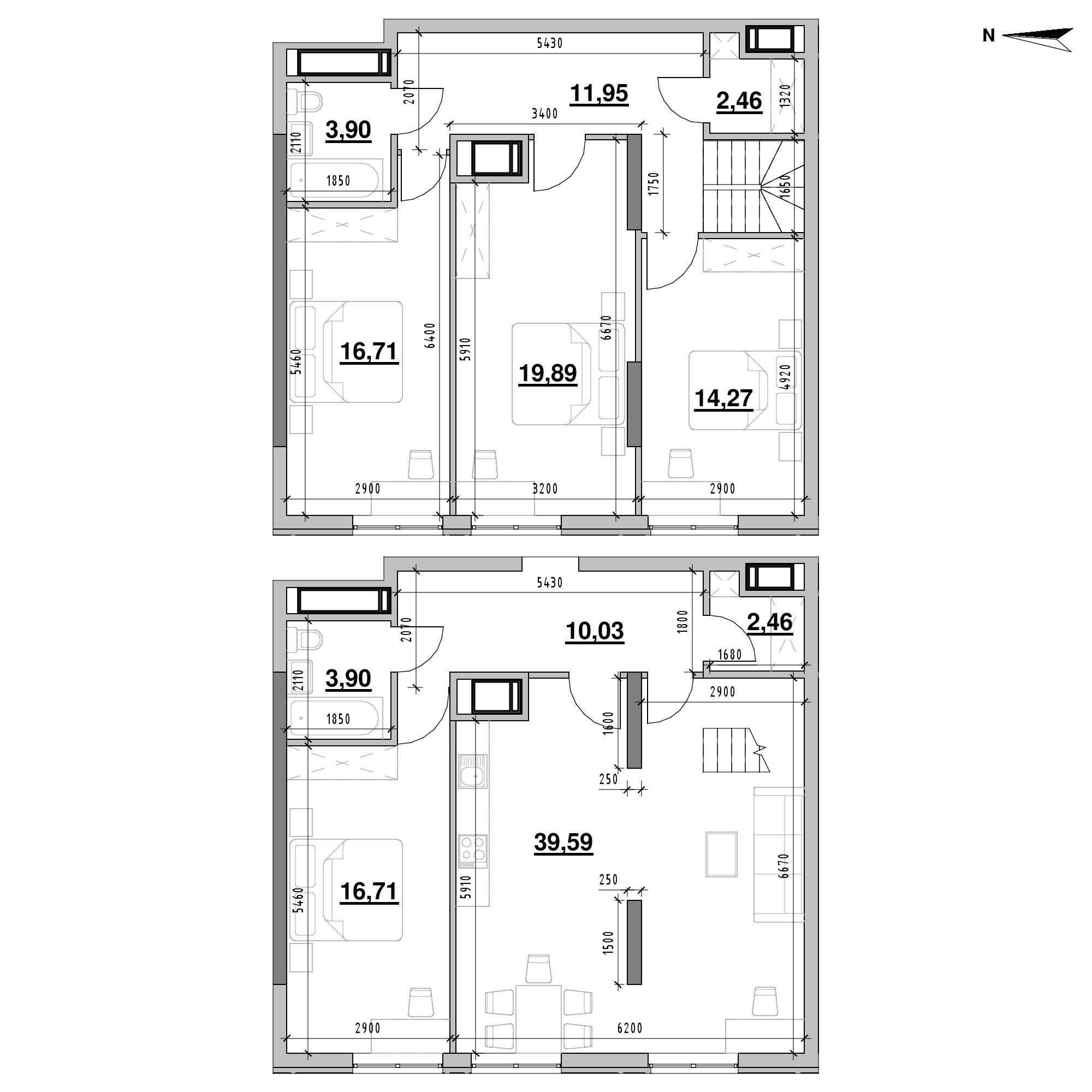 ЖК Nordica Residence: планування 4-кімнатної квартири, №212, 141.87 м<sup>2</sup>