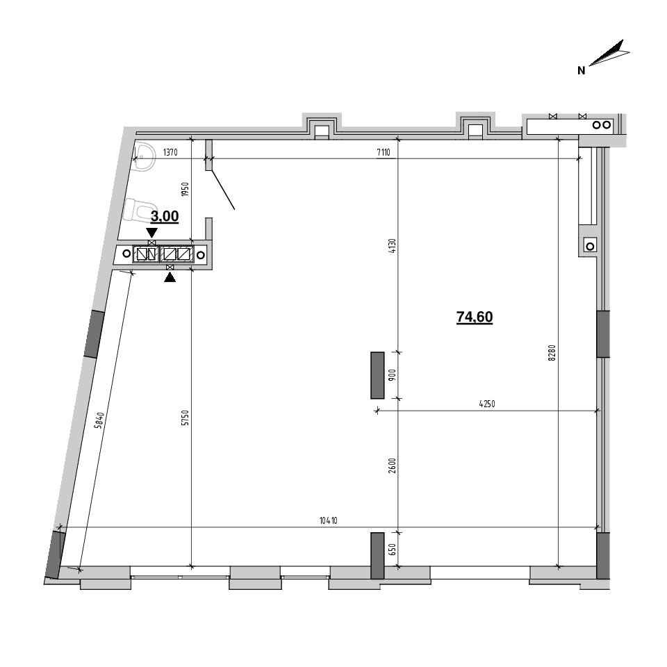 ЖК Підзамче. Вежа: планировка помещения площадью 77.6 м<sup>2</sup>