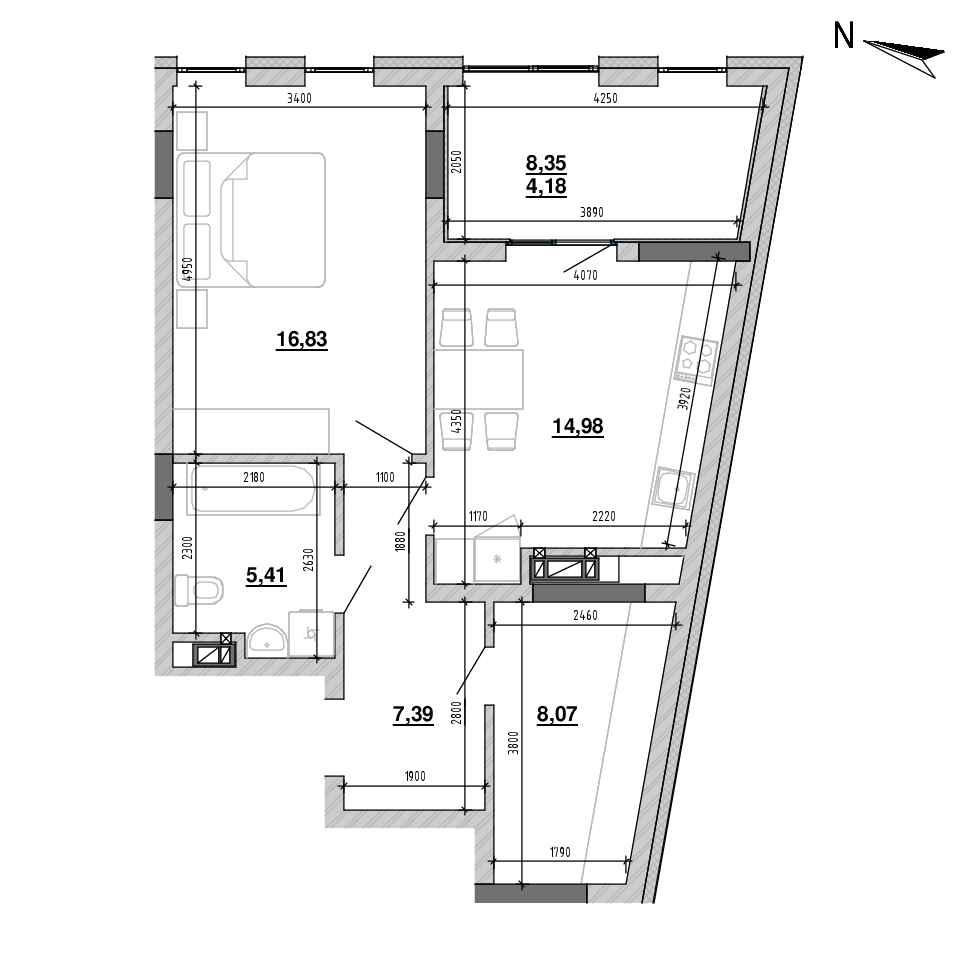 ЖК Підзамче. Брама: планування 1-кімнатної квартири, №16, 61.33 м<sup>2</sup>