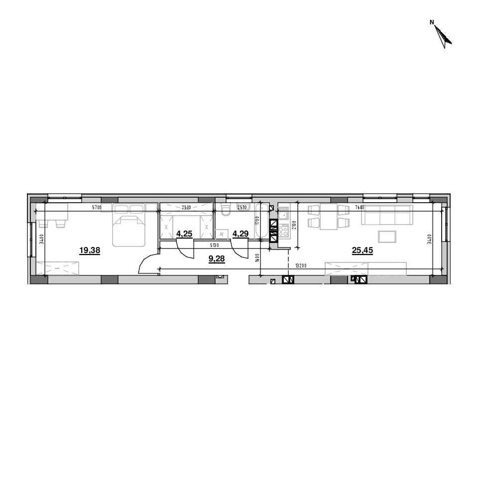 ЖК Riel City: планування 1-кімнатної квартири, №12, 62.81 м<sup>2</sup>