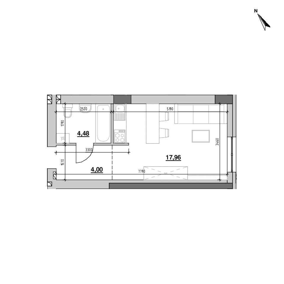 ЖК Riel City: планування 1-кімнатної квартири, №86, 26.43 м<sup>2</sup>
