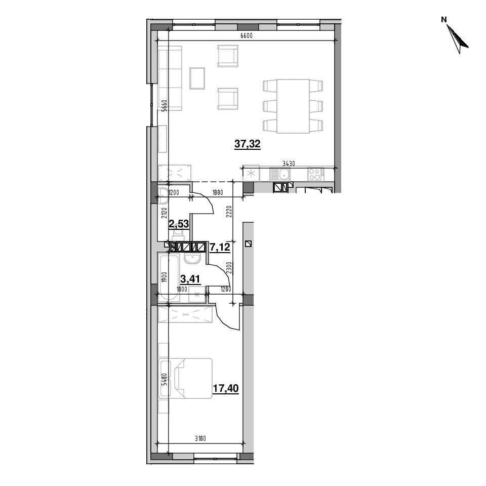 ЖК Riel City: планування 1-кімнатної квартири, №122, 67.78 м<sup>2</sup>