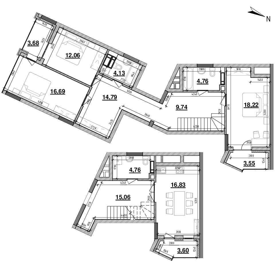 ЖК Львівська Площа: планування 3-кімнатної квартири, №157, 126.03 м<sup>2</sup>