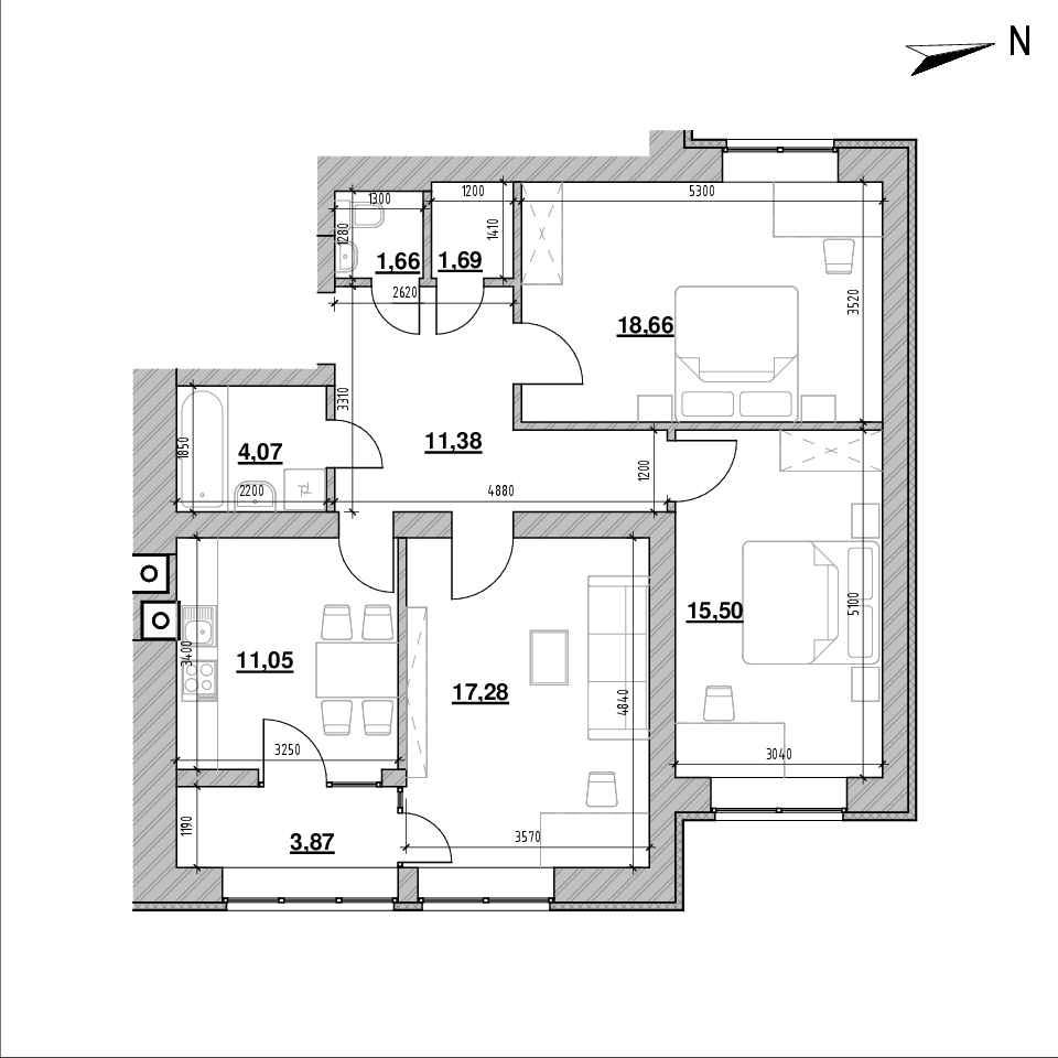 ЖК Компаньйон: планування 3-кімнатної квартири, №2, 85.16 м<sup>2</sup>