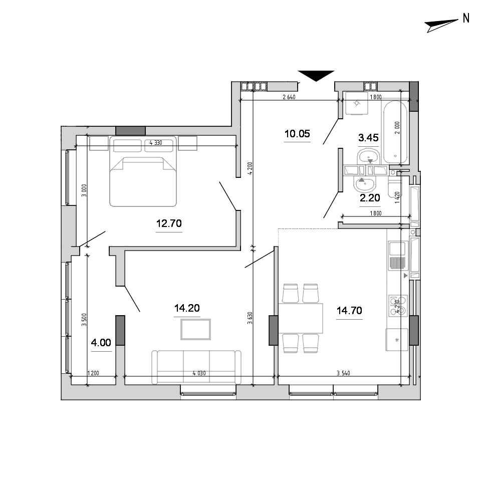 ЖК Forward: планування 2-кімнатної квартири, №26, 61.3 м<sup>2</sup>