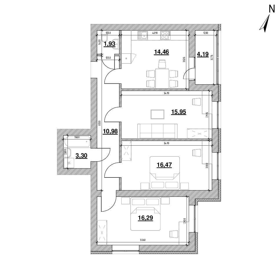 ЖК Шенген: планування 3-кімнатної квартири, №62, 83.57 м<sup>2</sup>