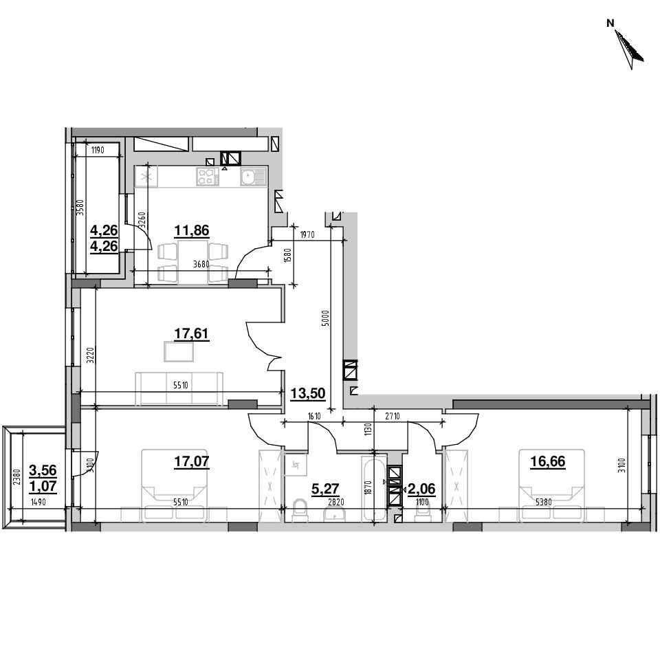 ЖК Riel City: планування 3-кімнатної квартири, №10, 89.36 м<sup>2</sup>