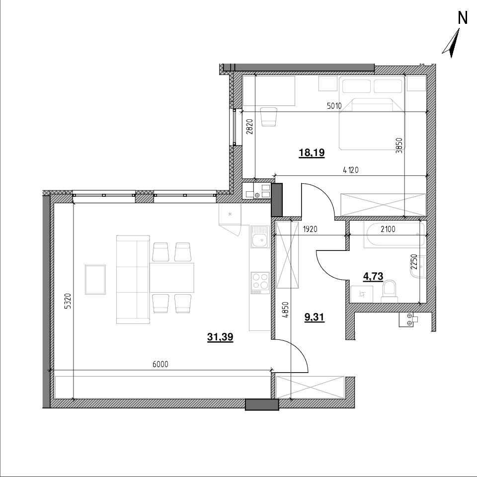 ЖК Topolis: планування 1-кімнатної квартири, №81, 63.56 м<sup>2</sup>
