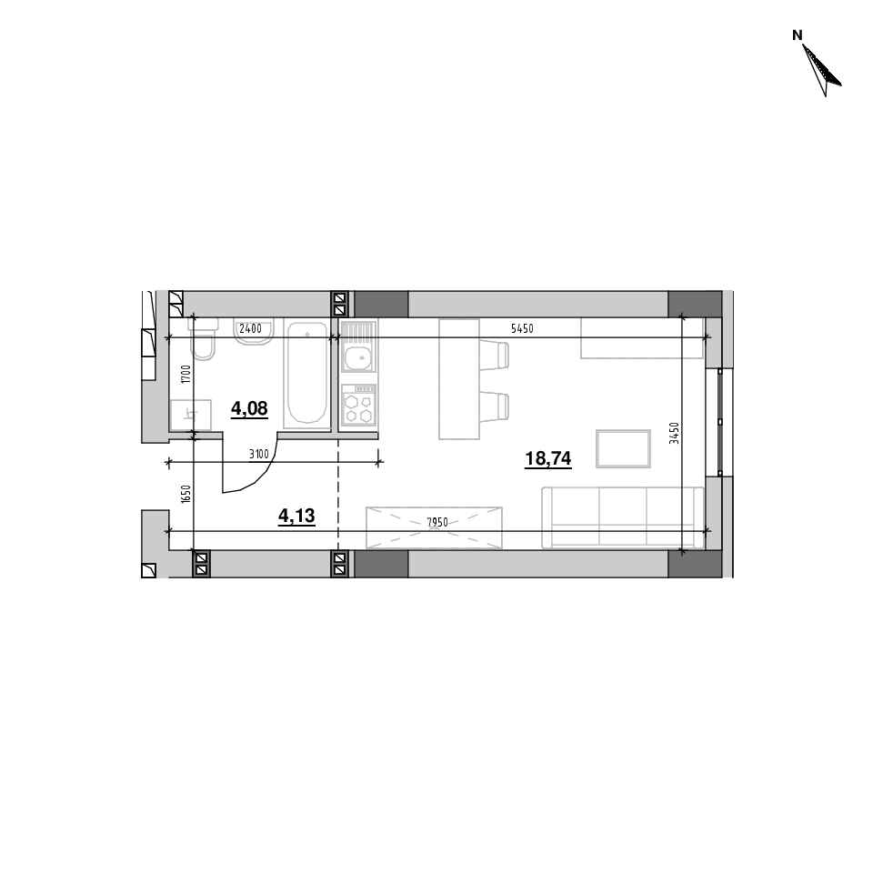 ЖК Riel City: планування 1-кімнатної квартири, №167, 26.94 м<sup>2</sup>