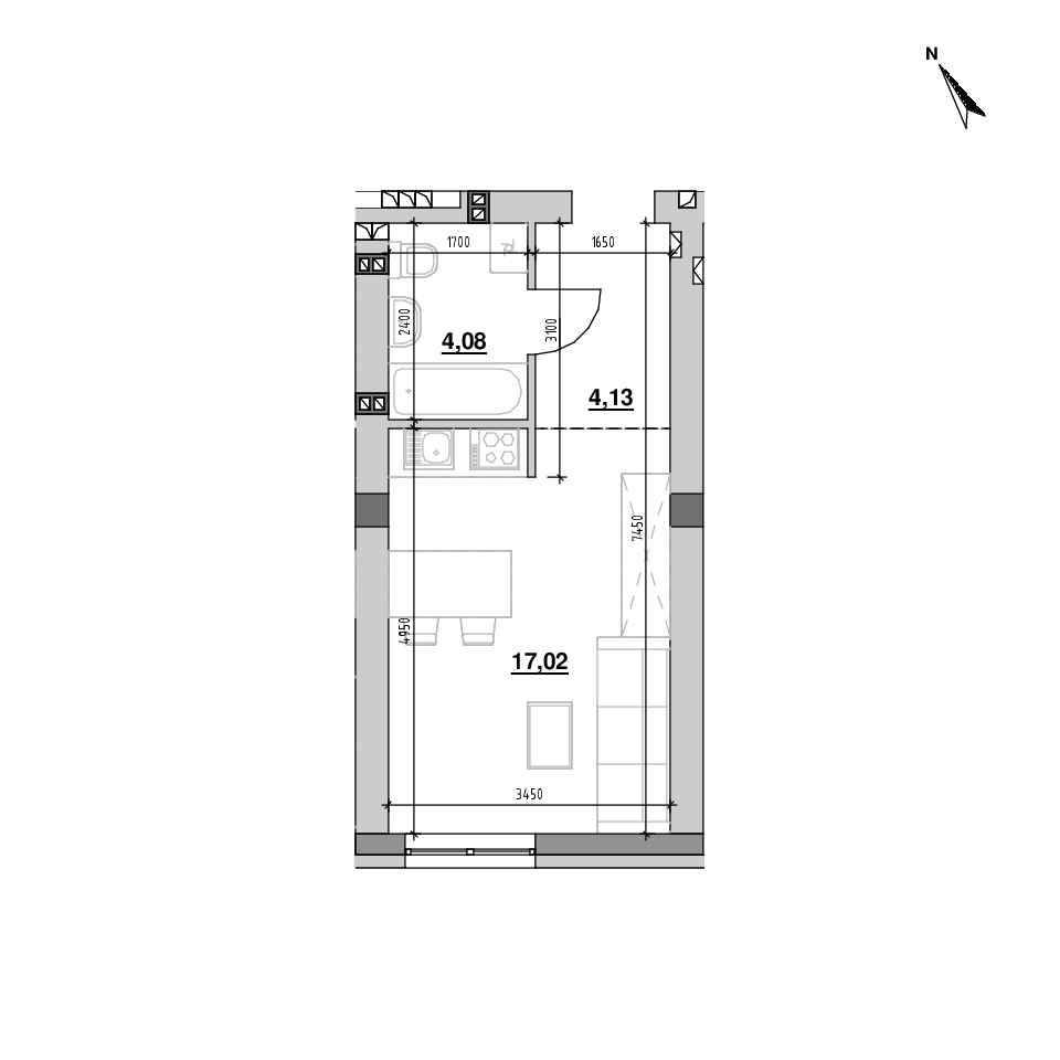 ЖК Riel City: планування 1-кімнатної квартири, №177, 25.22 м<sup>2</sup>
