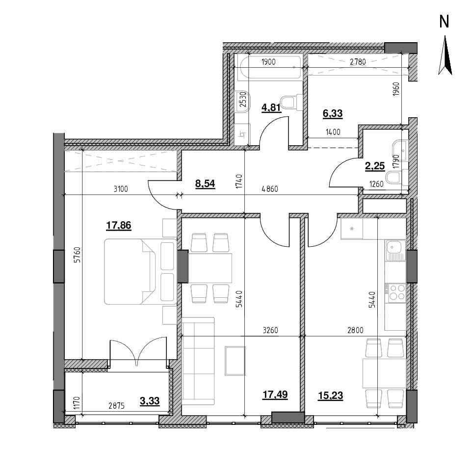 ЖК Голоські Кручі: планування 2-кімнатної квартири, №3, 75.84 м<sup>2</sup>