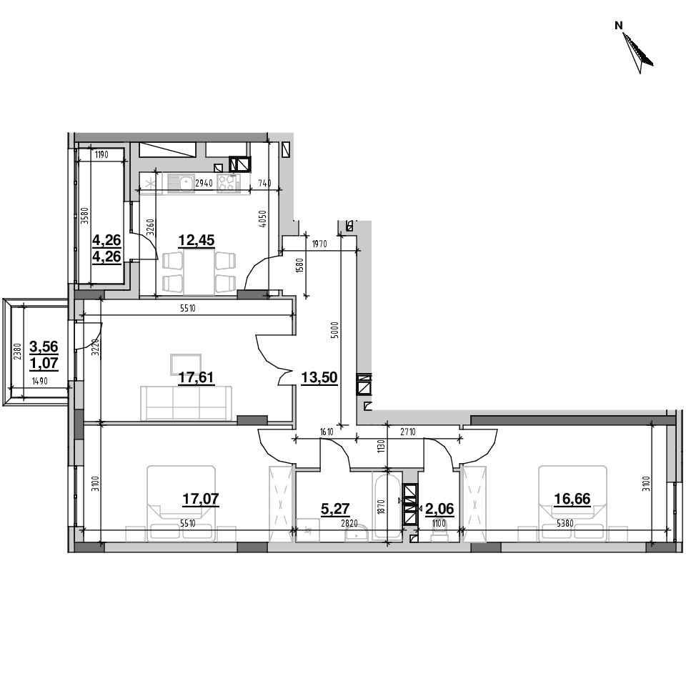 ЖК Riel City: планування 3-кімнатної квартири, №25, 89.95 м<sup>2</sup>