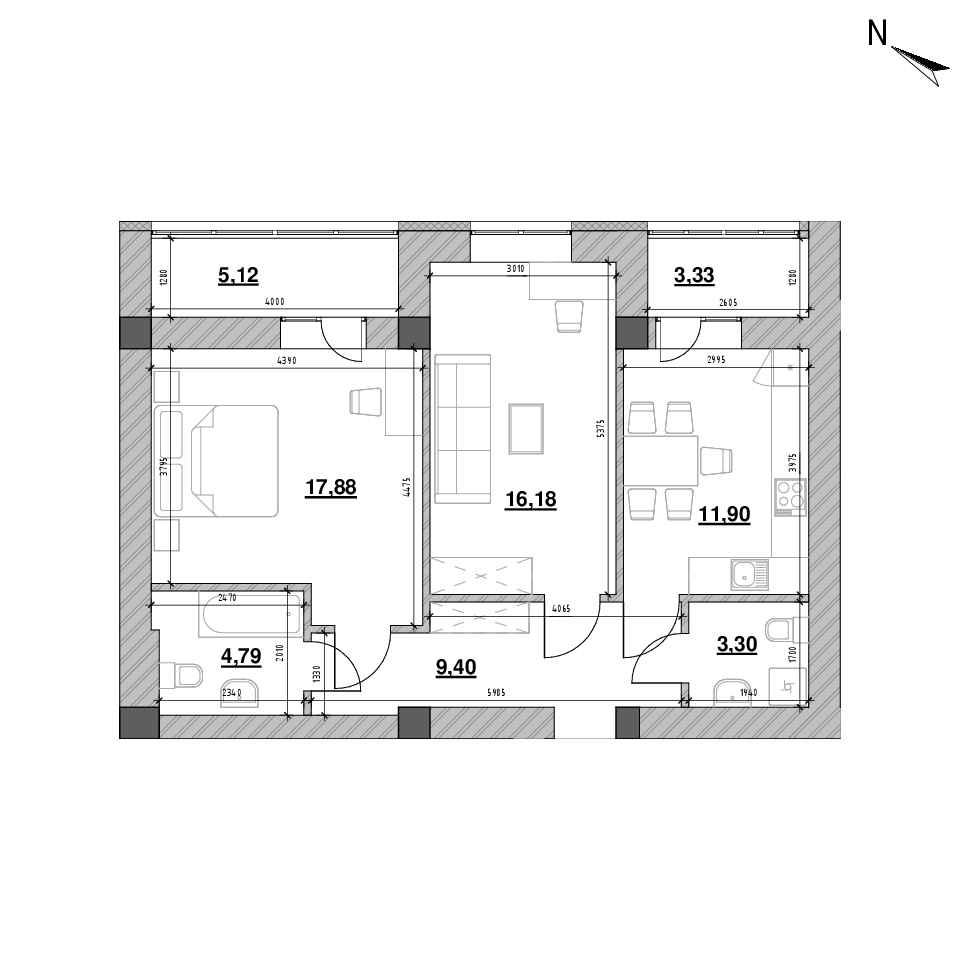 ЖК Шенген: планування 2-кімнатної квартири, №48, 71.9 м<sup>2</sup>