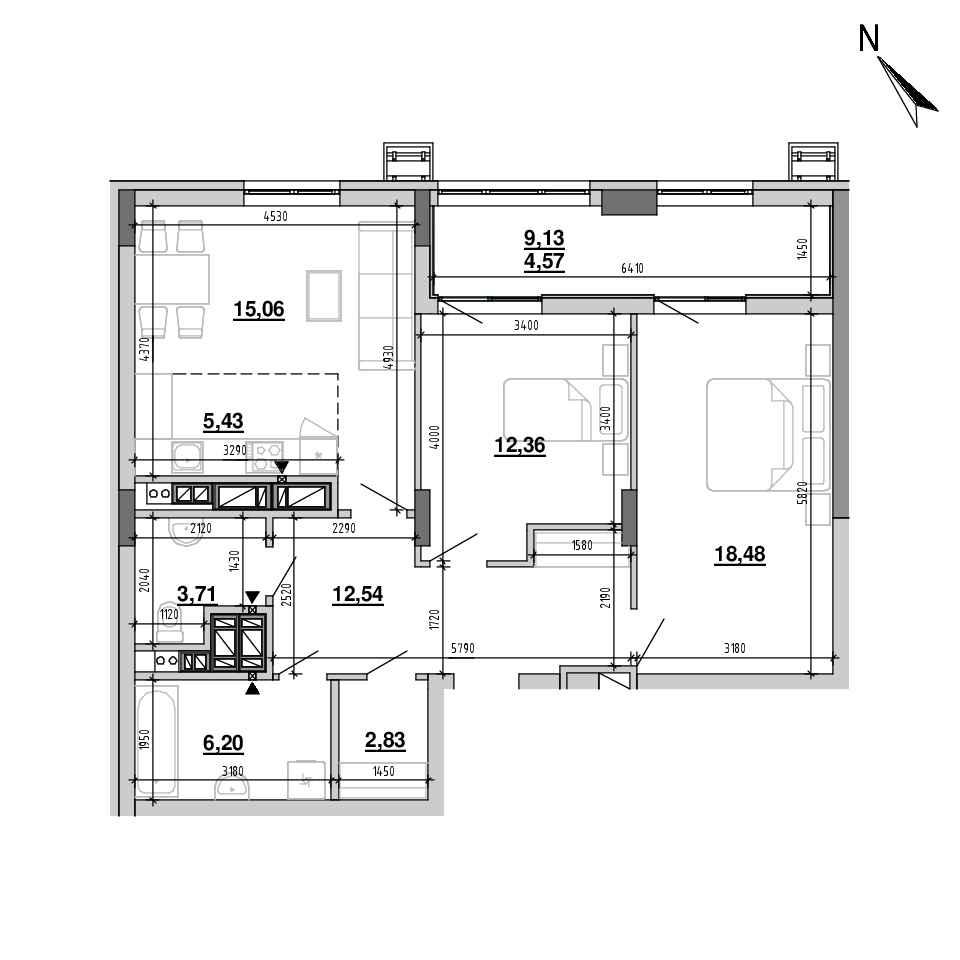 ЖК Підзамче. Вежа: планування 3-кімнатної квартири, №29, 81.18 м<sup>2</sup>