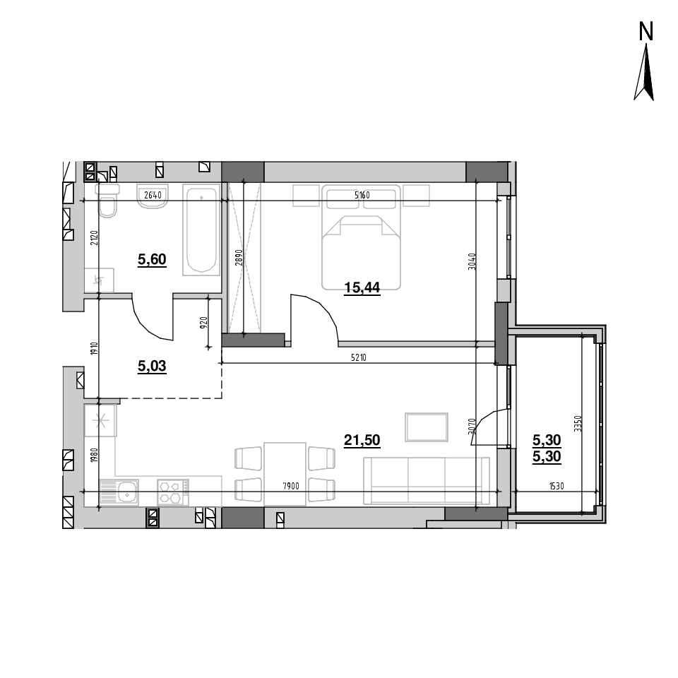 ЖК Riel City: планування 1-кімнатної квартири, №77, 52.87 м<sup>2</sup>