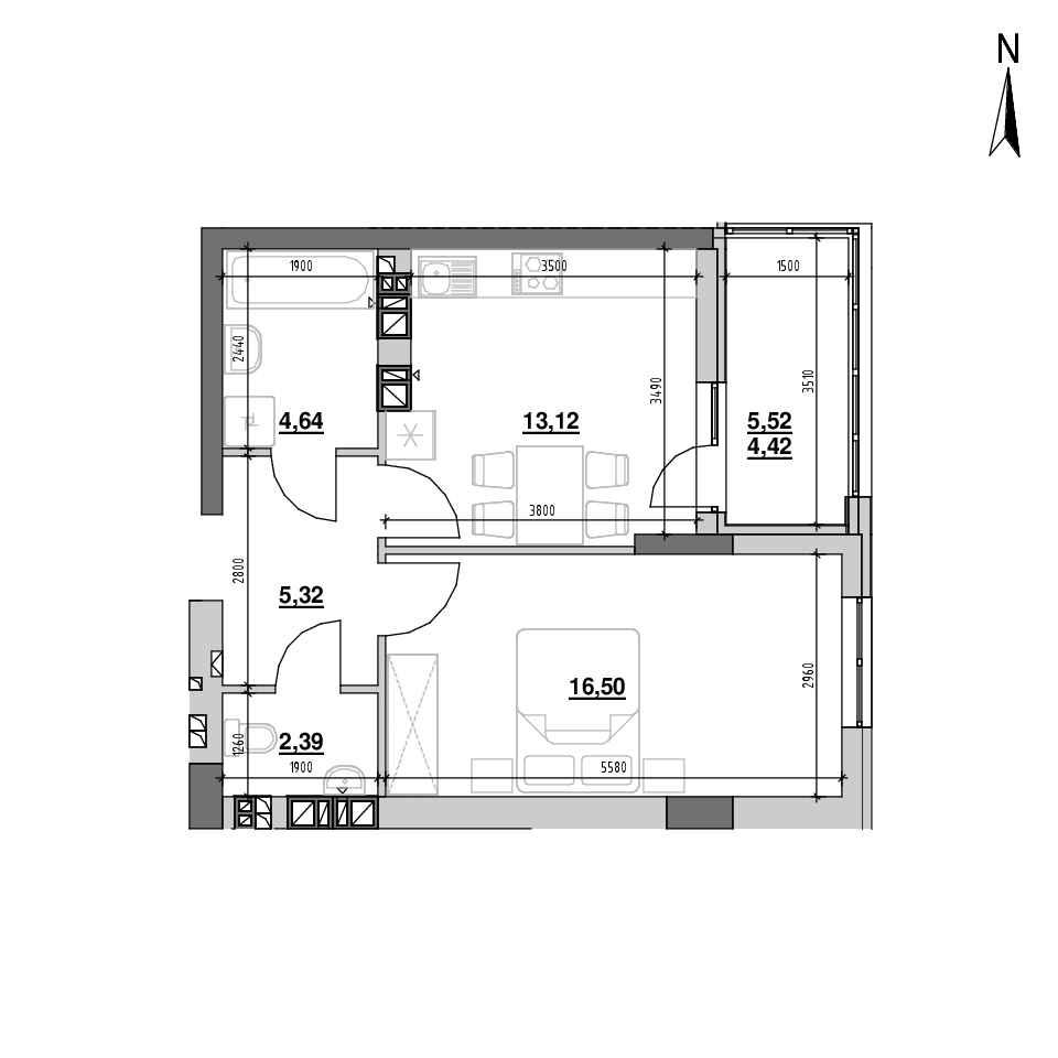 ЖК Riel City: планування 1-кімнатної квартири, №73, 46.39 м<sup>2</sup>