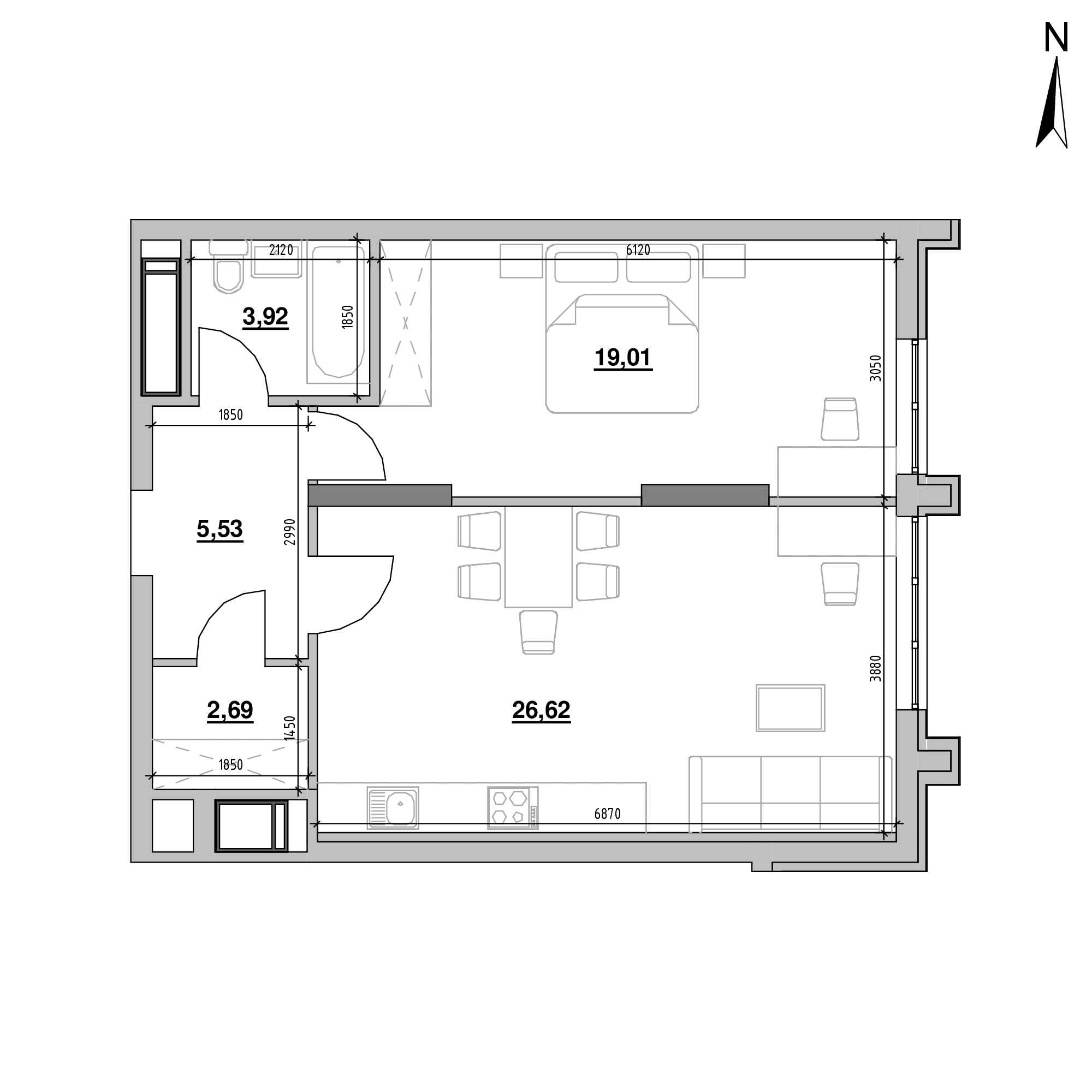 ЖК Nordica Residence: планування 1-кімнатної квартири, №207, 57.77 м<sup>2</sup>