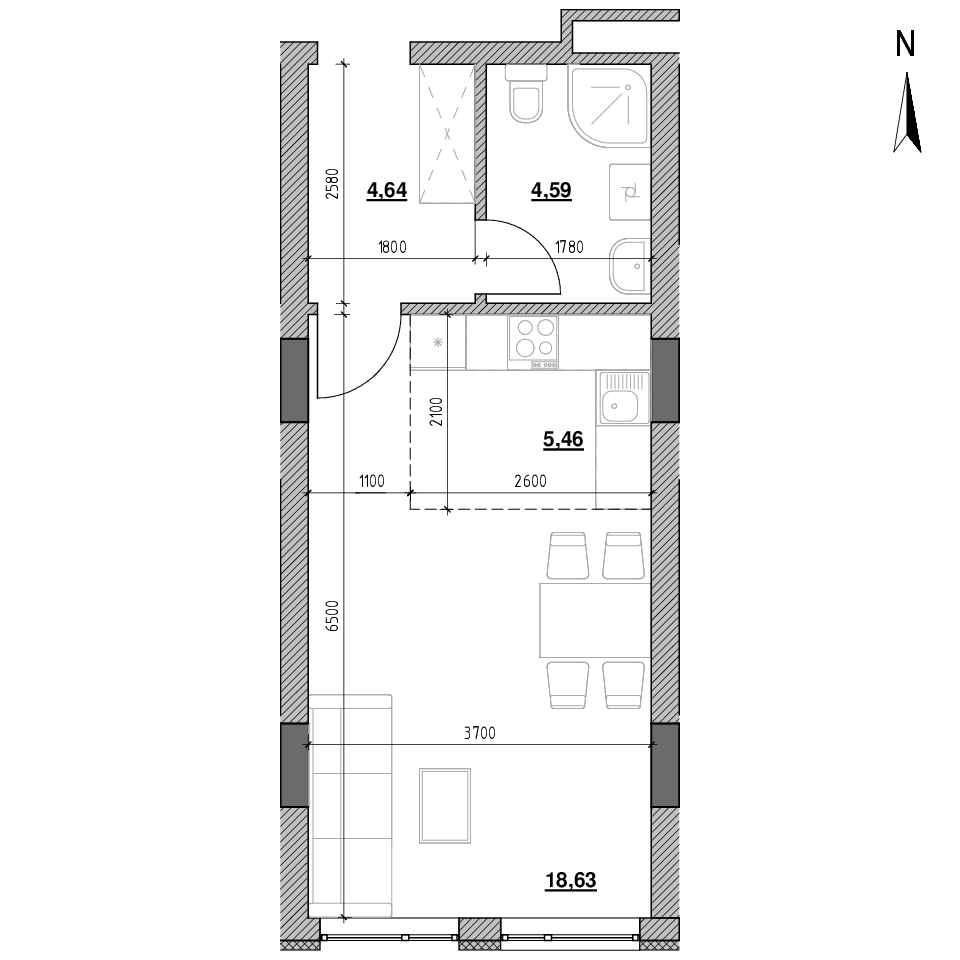 ЖК Голоські Кручі: планування 1-кімнатної квартири, №50, 33.32 м<sup>2</sup>