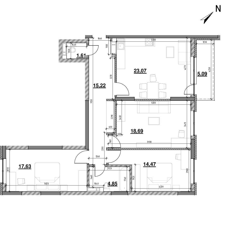 ЖК Оk'Land: планування 3-кімнатної квартири, №1, 100.63 м<sup>2</sup>