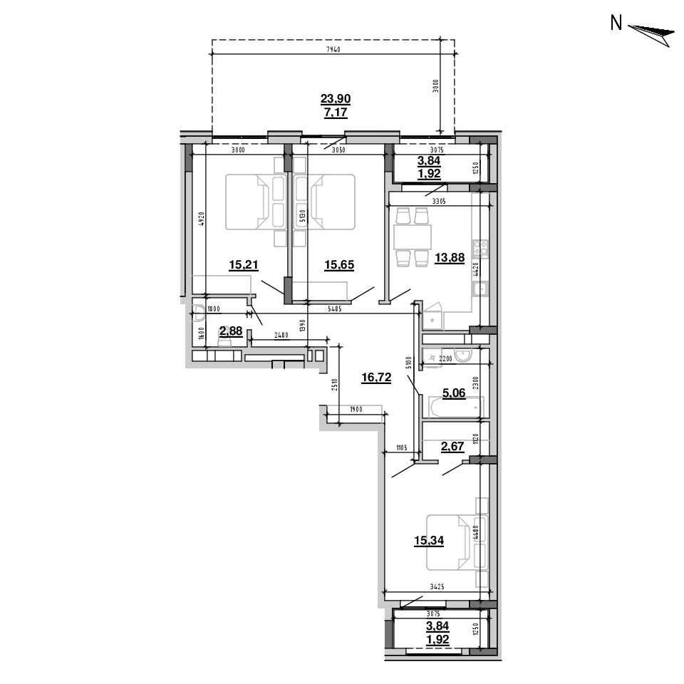 ЖК Підзамче. Брама: планування 3-кімнатної квартири, №1, 98.42 м<sup>2</sup>