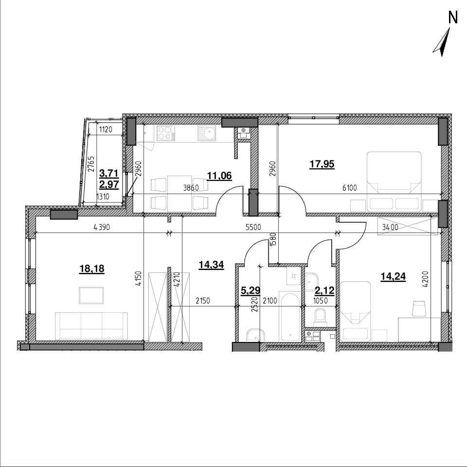 ЖК Topolis: планування 3-кімнатної квартири, №31, 85.15 м<sup>2</sup>