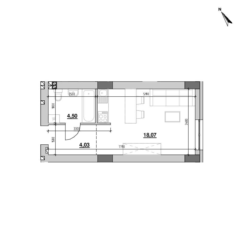ЖК Riel City: планування 1-кімнатної квартири, №116, 26.6 м<sup>2</sup>
