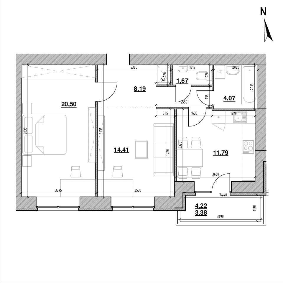 ЖК Компаньйон: планування 2-кімнатної квартири, №30а, 64.01 м<sup>2</sup>