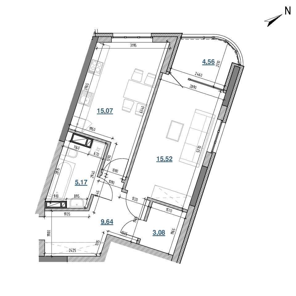 ЖК Берег Дніпра: планування 1-кімнатної квартири, №217, 53.04 м<sup>2</sup>