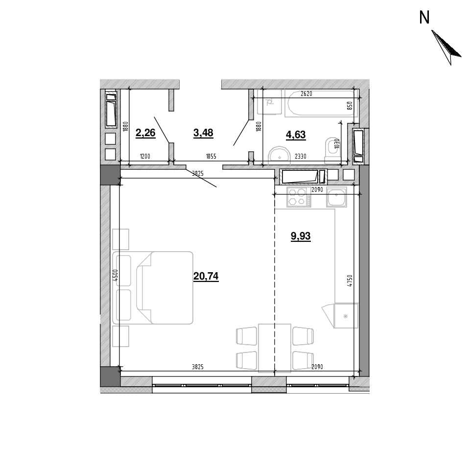 ЖК Підзамче. Вежа: планування 1-кімнатної квартири, №7, 40.92 м<sup>2</sup>