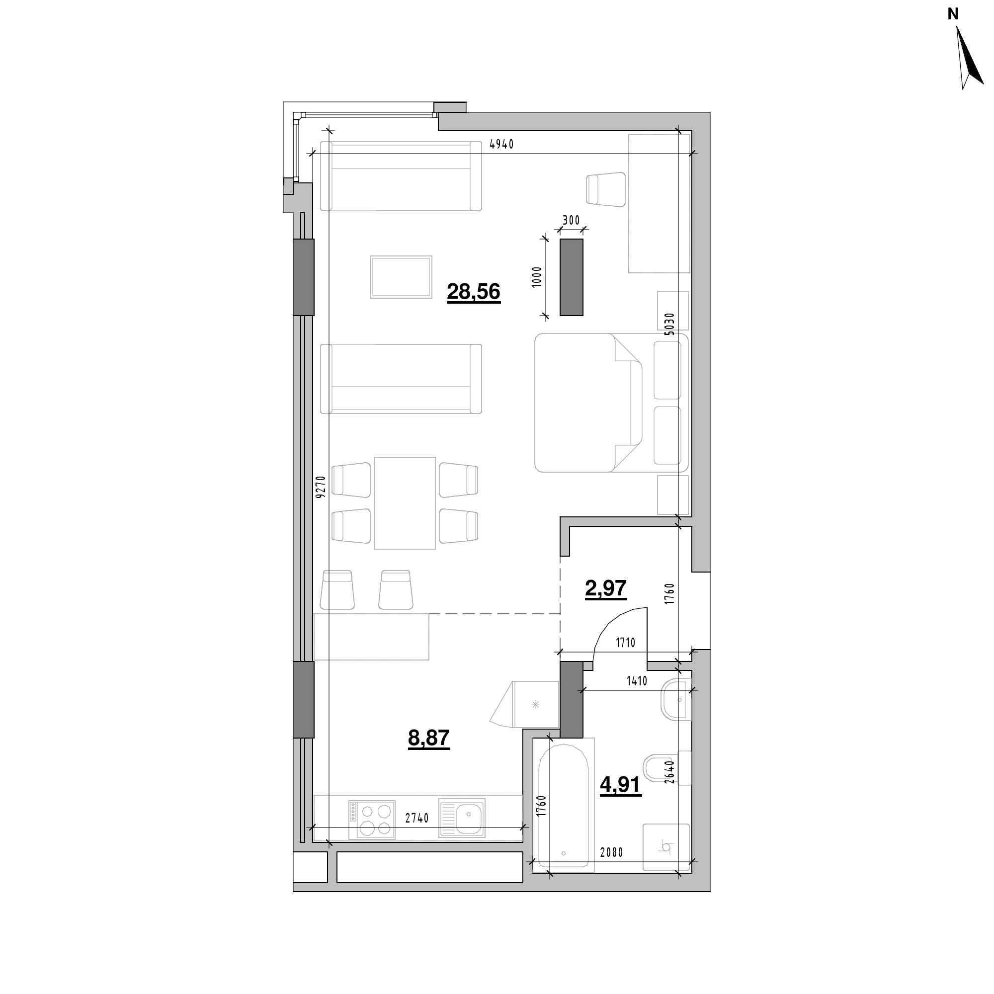 ЖК Америка: планування 1-кімнатної квартири, №221, 45.31 м<sup>2</sup>