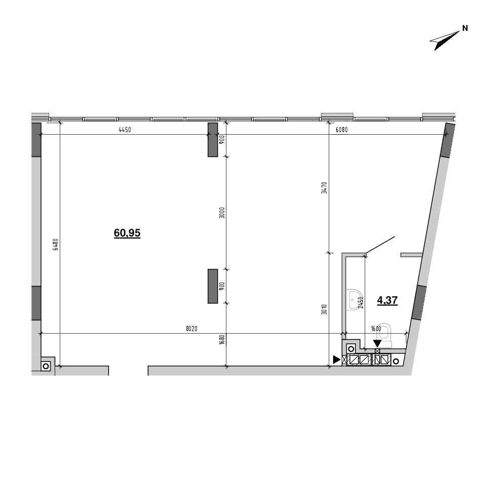 ЖК Підзамче. Вежа: планування приміщення площею 65.17 м<sup>2</sup>