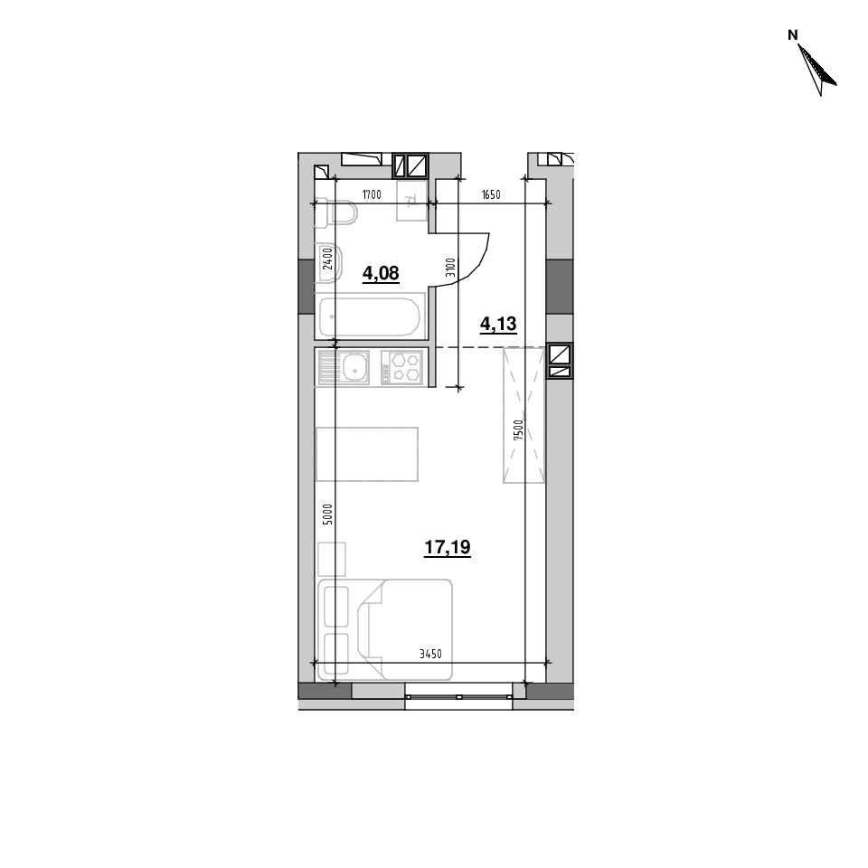 ЖК Riel City: планування 1-кімнатної квартири, №175, 25.39 м<sup>2</sup>