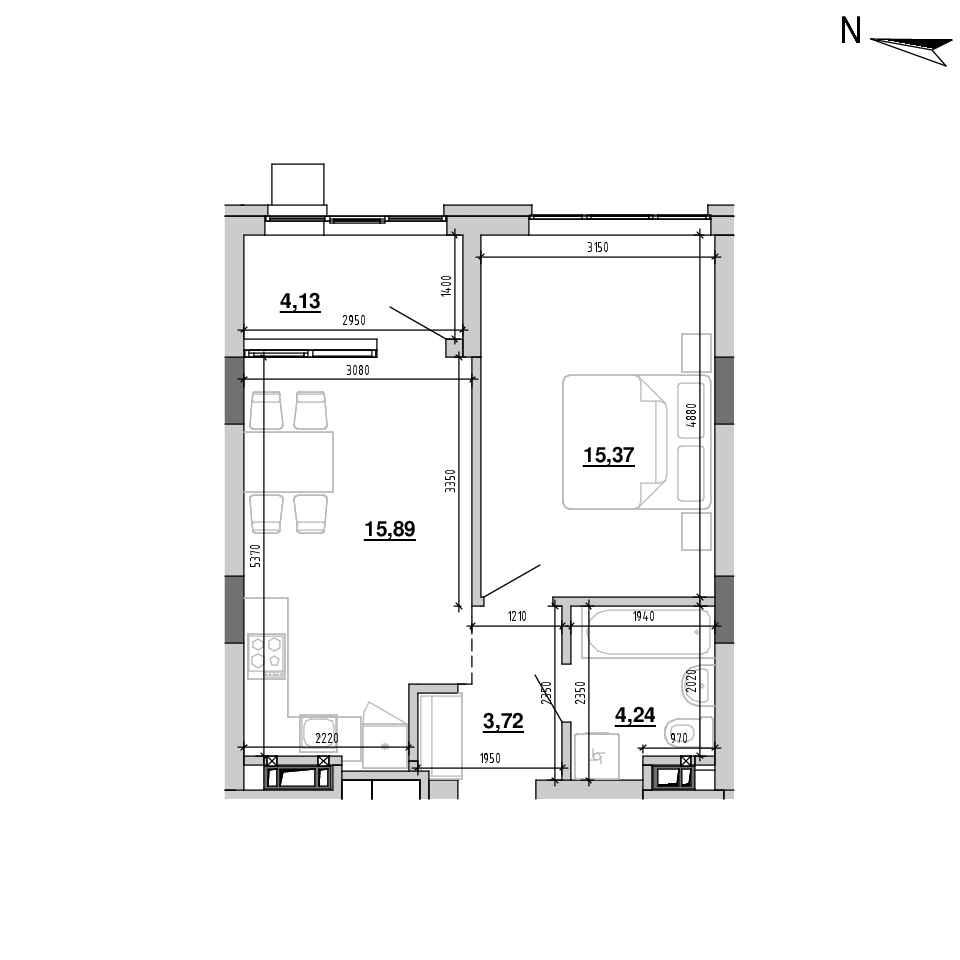 ЖК Підзамче. Новий Форт: планування 1-кімнатної квартири, №6, 43.35 м<sup>2</sup>