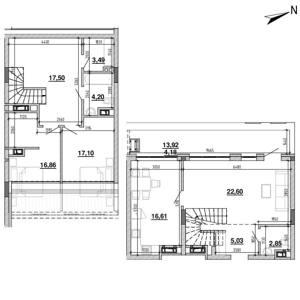 ЖК Підзамче. Новий Форт: планування 3-кімнатної квартири, №31, 110.42 м<sup>2</sup>