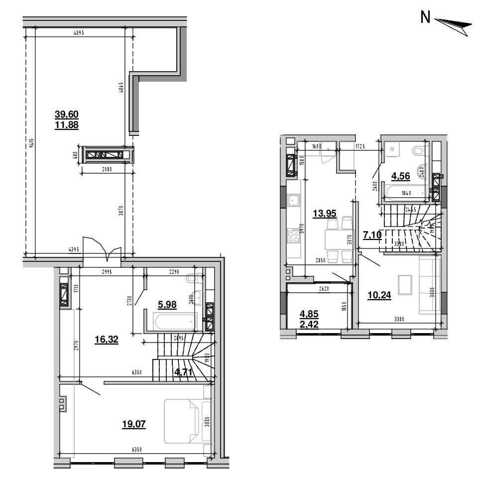 ЖК Підзамче. Брама: планування 2-кімнатної квартири, №20, 96.23 м<sup>2</sup>