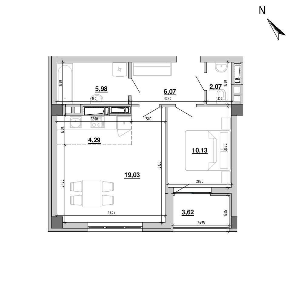 ЖК Підзамче. Вежа: планування 2-кімнатної квартири, №9, 49.38 м<sup>2</sup>