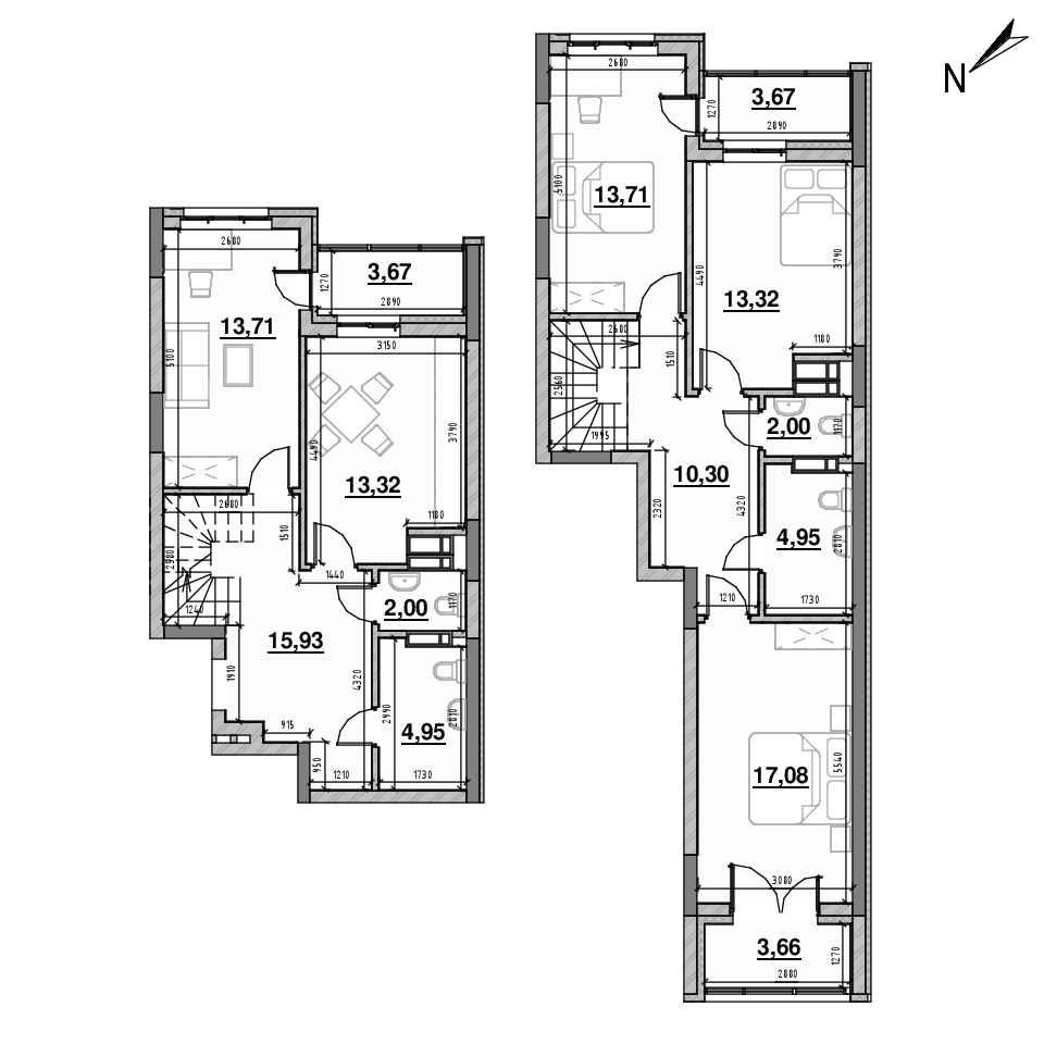 ЖК Львівська Площа: планування 4-кімнатної квартири, №134, 117.72 м<sup>2</sup>