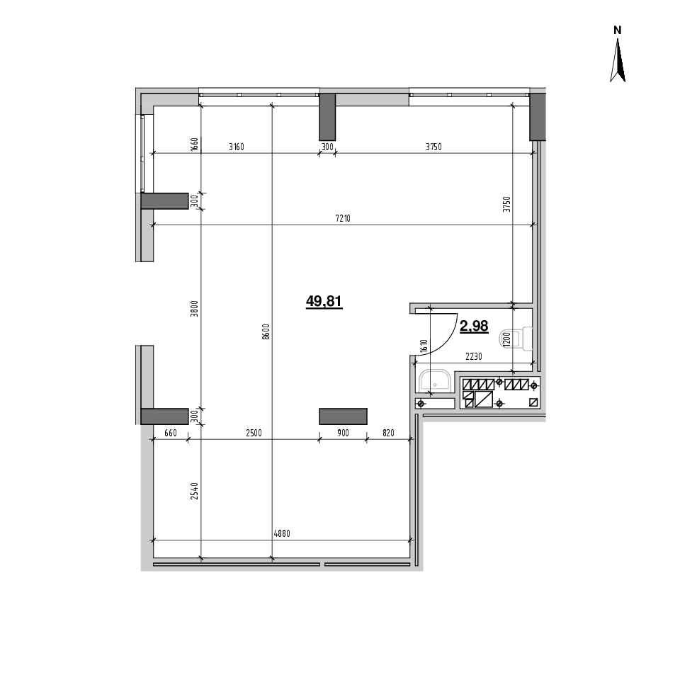 ЖК Голоські Кручі: планування приміщення площею 50.37 м<sup>2</sup>