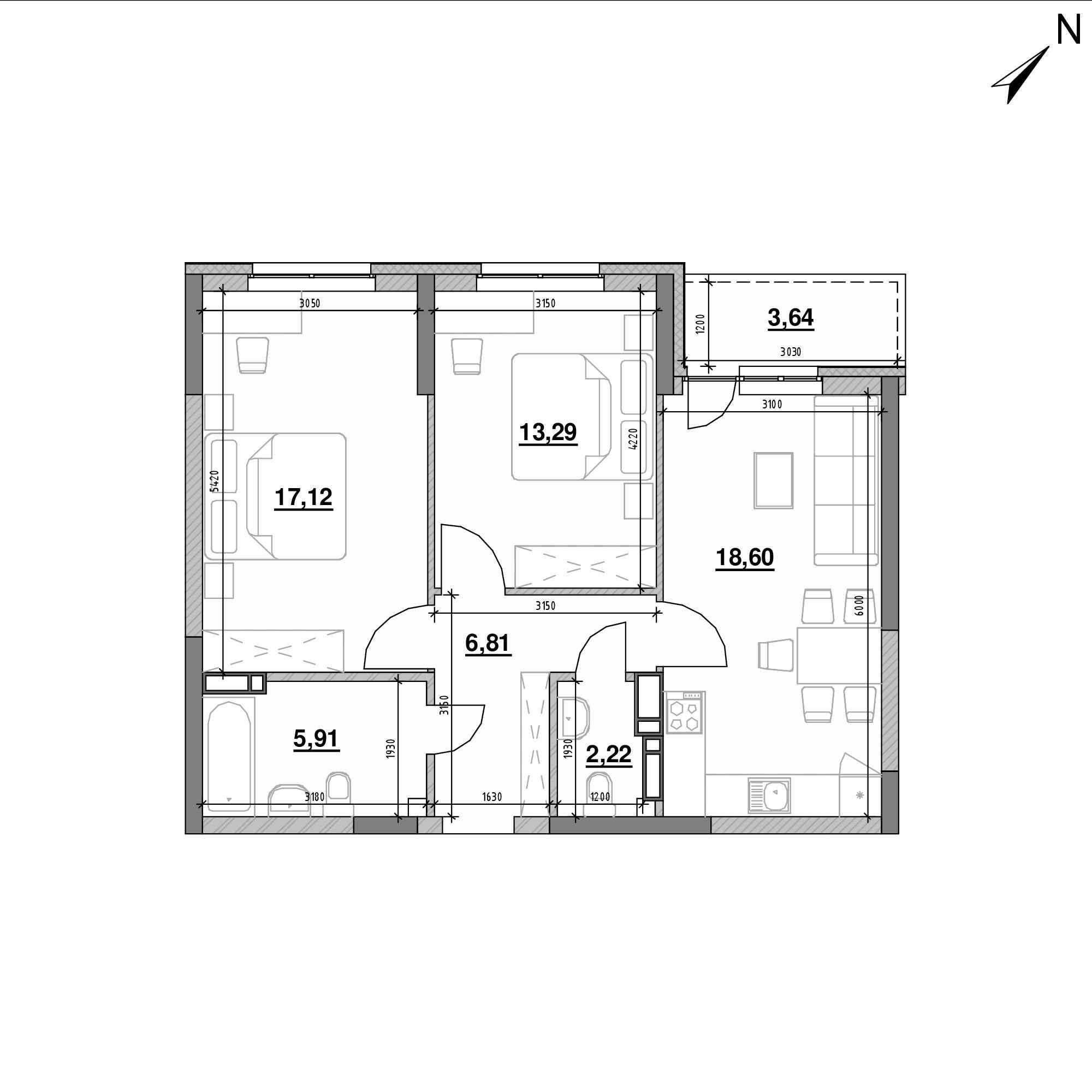 ЖК Оk'Land: планування 2-кімнатної квартири, №300, 67.59 м<sup>2</sup>