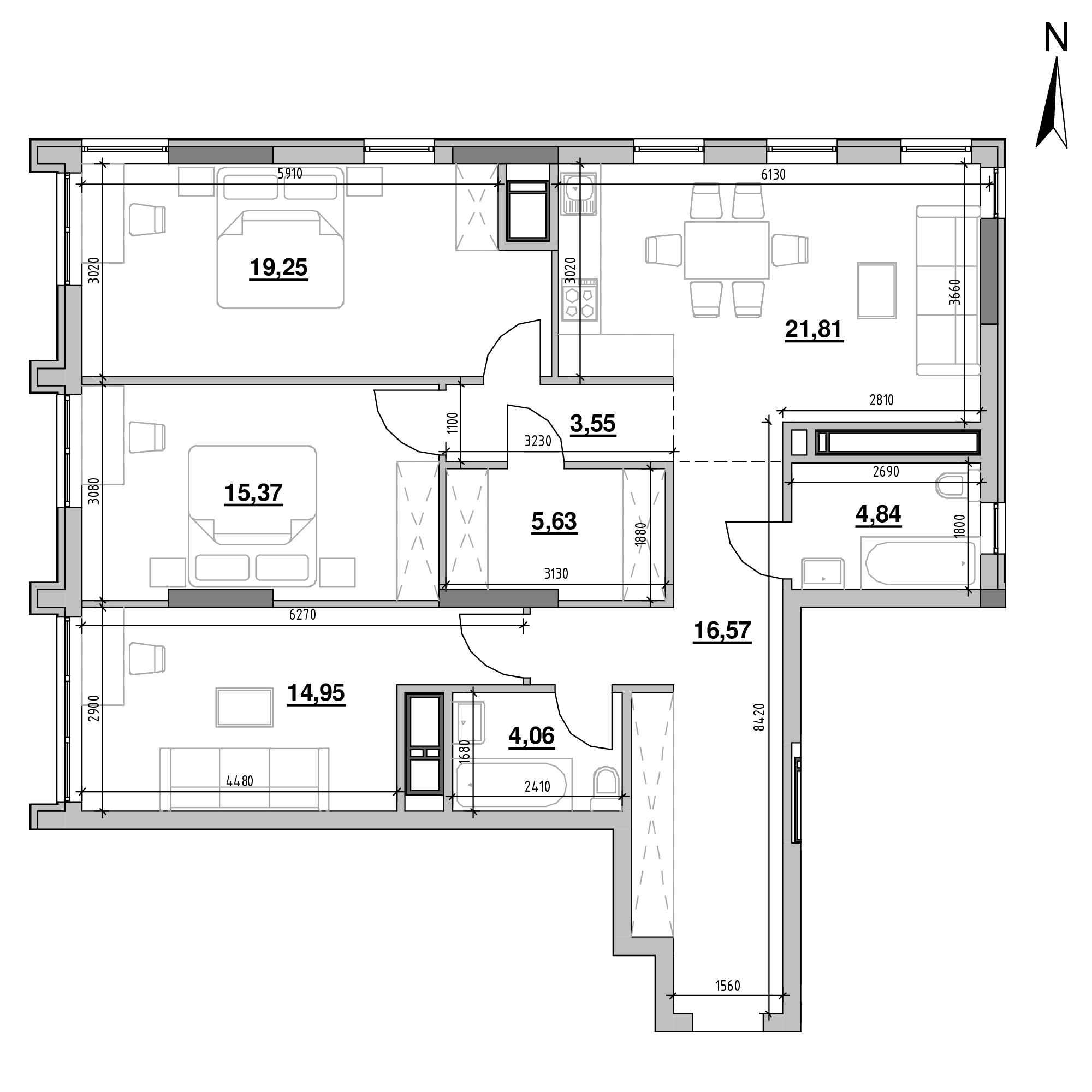 ЖК Nordica Residence: планування 1-кімнатної квартири, №151, 40.97 м<sup>2</sup>