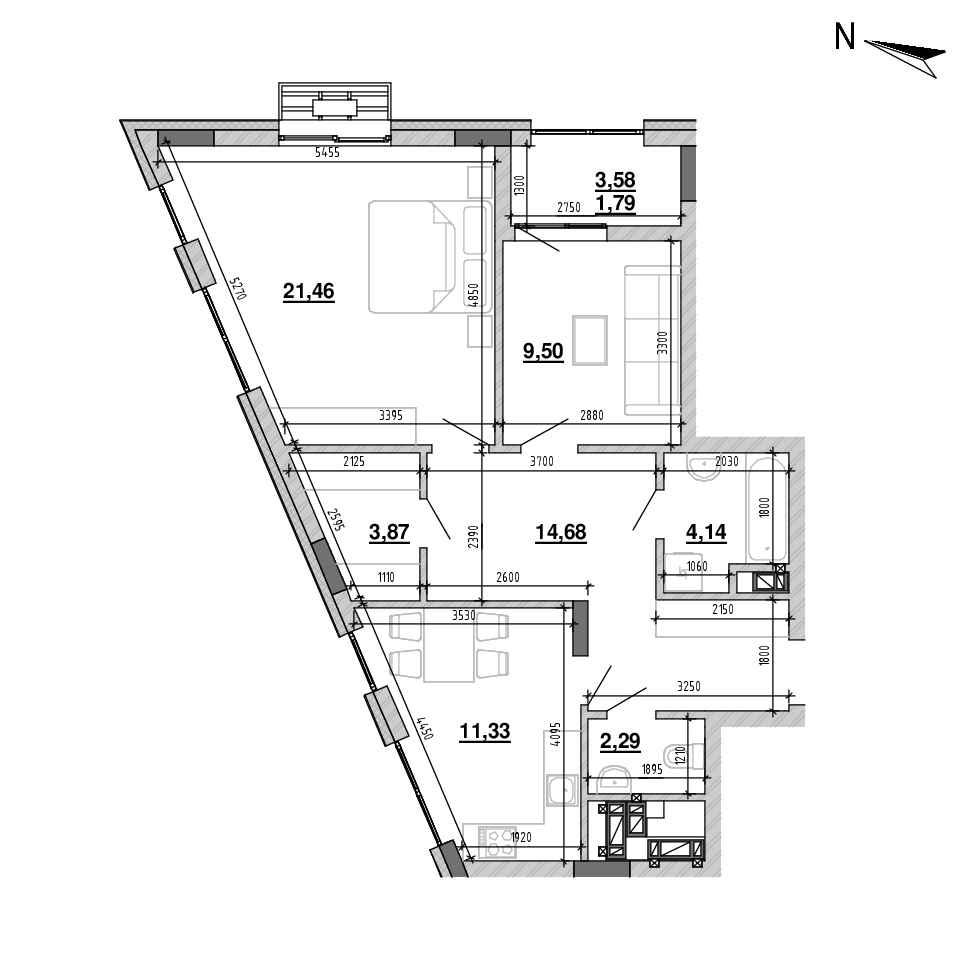 ЖК Підзамче. Брама: планування 2-кімнатної квартири, №7, 69.06 м<sup>2</sup>