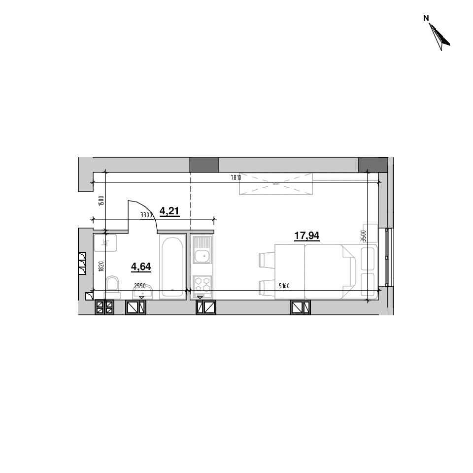 ЖК Riel City: планування 1-кімнатної квартири, №113, 26.79 м<sup>2</sup>