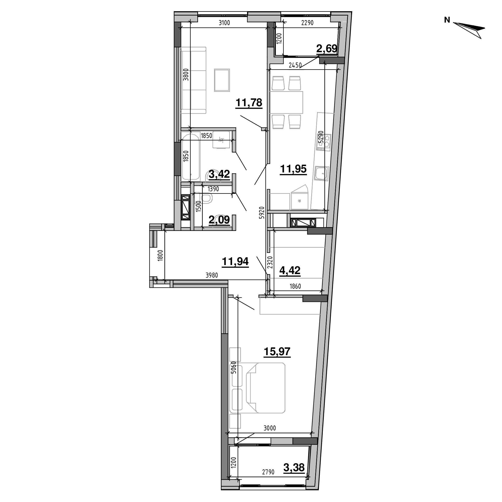 ЖК Підзамче. Брама: планування 2-кімнатної квартири, №7, 67.64 м<sup>2</sup>