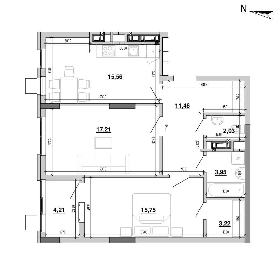 ЖК Підзамче. Новий Форт: планування 2-кімнатної квартири, №3, 73.39 м<sup>2</sup>
