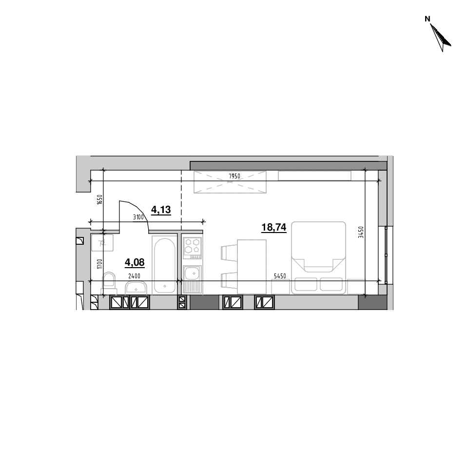 ЖК Riel City: планування 1-кімнатної квартири, №204, 26.95 м<sup>2</sup>