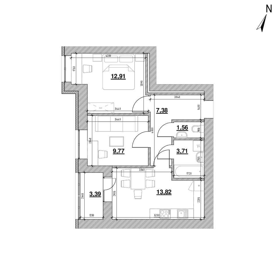 ЖК Шенген: планування 2-кімнатної квартири, №16, 52.54 м<sup>2</sup>