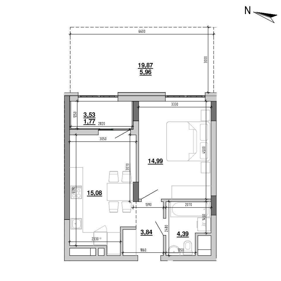 ЖК Підзамче. Брама: планування 1-кімнатної квартири, №1, 46.03 м<sup>2</sup>